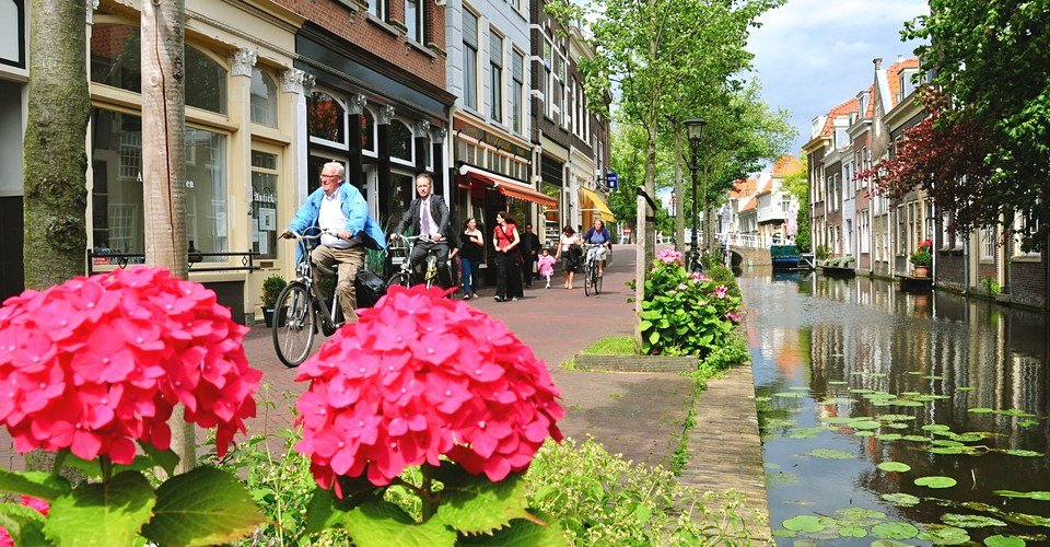 Delft Private Tour - Canals with flowers